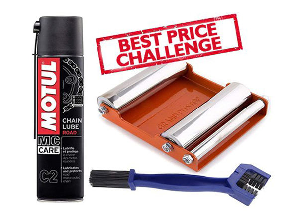 Free Chain Cleaning Brush with Motul C2 Chain Lube (400 ml) and Paddock Stand Replacement - GRoller Medium (Bikes < 220 kgs) for Chain Cleaning and Lubrication