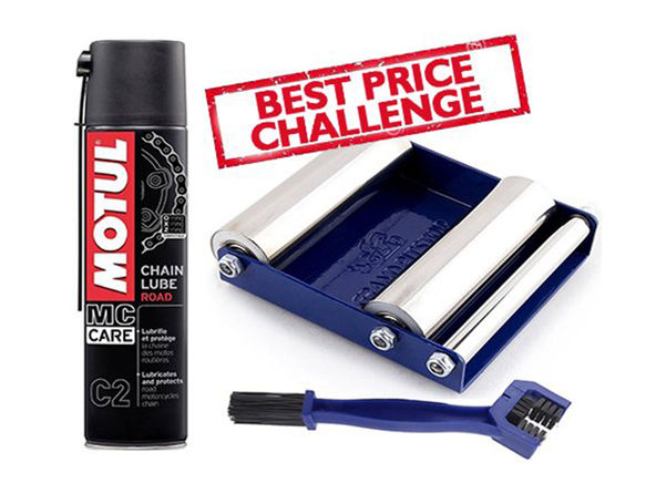 Grand Pitstop Chain Cleaning Brush with Motul C2 Lube (400 ml) and Paddock Stand Replacement