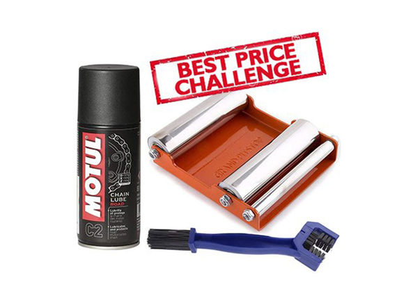 Free Chain Cleaning Brush with Motul C2 Chain Lube (150 ml) and Paddock Stand Replacement - GRoller Medium (Bikes < 220 kgs) for Chain Cleaning and Lubrication