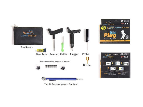 Mini Plug Puncture Kit with Tire Air Pressure Gauge
