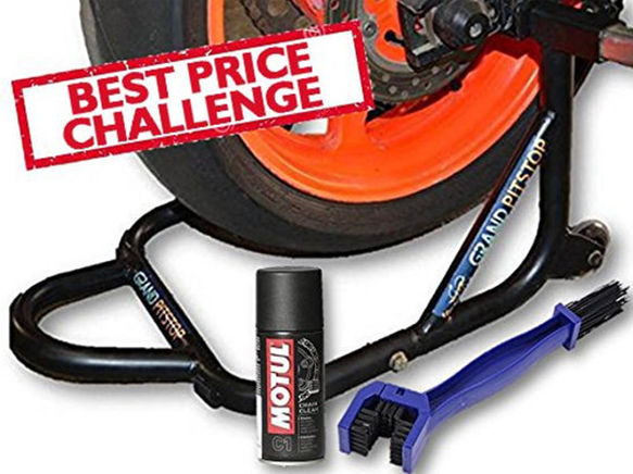 Free Chain Cleaning Brush Blue with Motul C1 Chain Clean and GrandPitstop Rear Paddock Stand