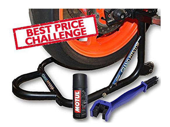 Free Chain Cleaning Brush Blue with Motul C2 Chain Lube and GrandPitstop Rear Paddock