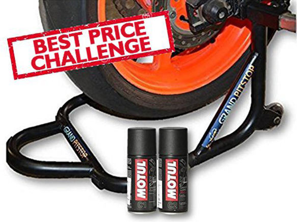 Free Motul Combo of Chain Clean C1 with Chain Lube C2 (150ml) and GrandPitstop Rear Paddock Stand