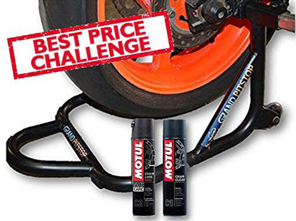 Free Motul Combo of Chain Clean C1 with Chain Lube C2 (400ml) and GrandPitstop Rear Paddock Stand