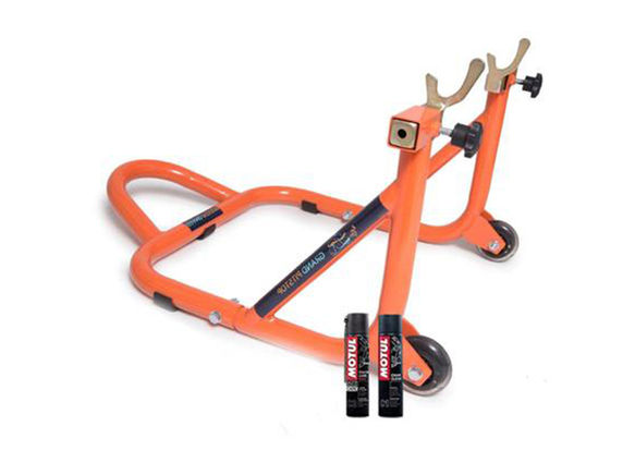 Free Motul Combo of Chain Clean C1 with Chain Lube C2 (400ml) and GrandPitstop Rear Paddock Stand - Black/Orange Color