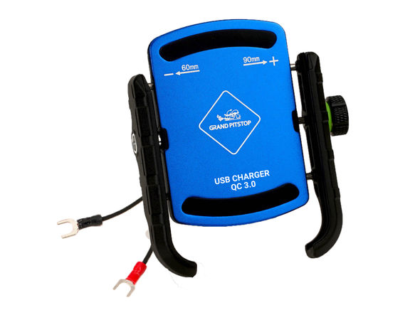 GRANDPITSTOP JAW GRIP MOBILE HOLDER WITH CHARGER (ALUMINIUM)- BLUE