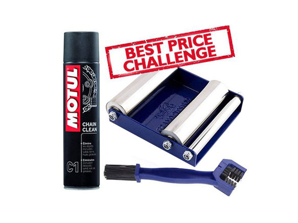 Free Chain Cleaning Brush with Motul C1 Chain Clean (400 ml) and Paddock Stand Replacement - GRoller Small (Bikes < 170 kgs) for Chain Cleaning and Lubrication