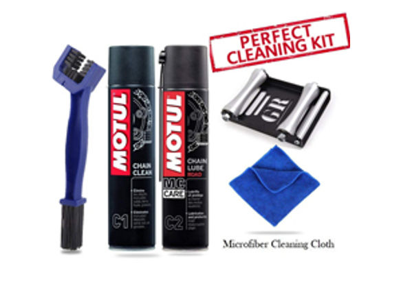 GRoller Large with Chain Clean Brush, Motul C1 C2 400 ml and Microfiber Cloth