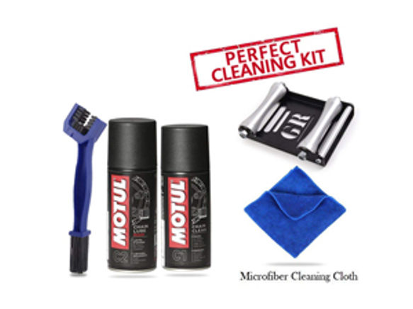 GRoller Large with Chain Clean Brush, Motul C1 C2 150 ml and Microfiber Cloth