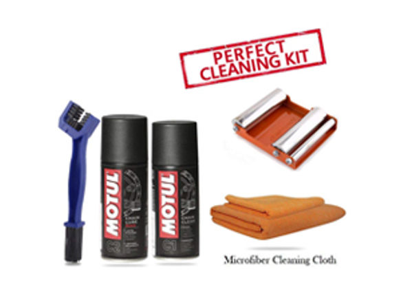 GRoller Med with Chain Clean Brush, Motul C1 C2 150 ml and Microfiber Cloth