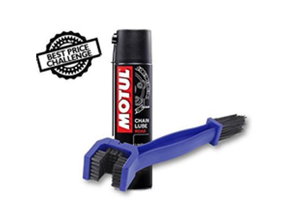 Chain Cleaning Brush with Motul Chain Lube C2 400 ml