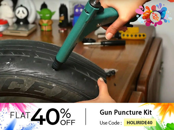 Grand Pitstop Tubeless Tyre Puncture Kit Gun & Inflation Kit with Mushroom Plugs & Air Inflator with Tyre Air Pressure Gauge
