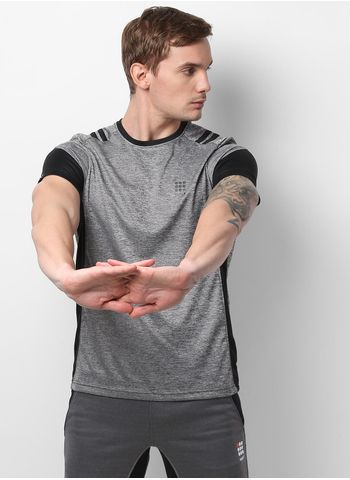 Rockit Grey Black Round Neck Smart Fit T-Shirt