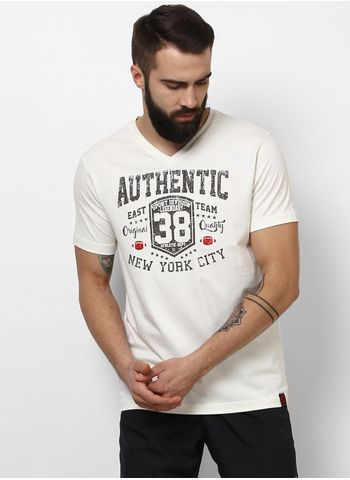 Rockit White V Neck Regular Fit T-Shirt