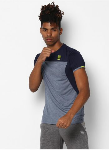 Rockit Grey Navy Round Neck Smart Fit T-Shirt