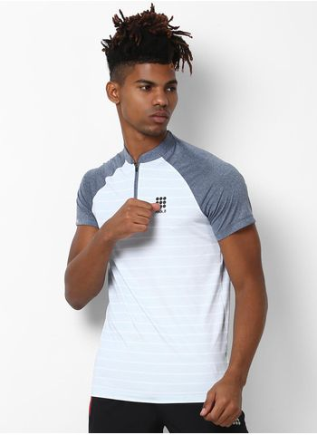 Rockit Grey White Collar Smart Fit T-Shirt