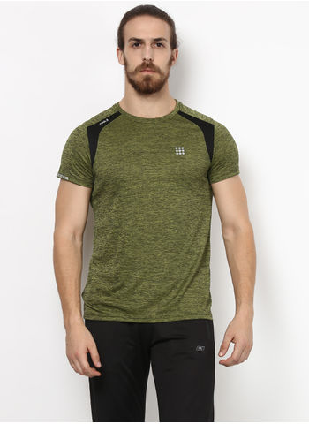 Rockit Olive Round Neck Smart Fit T-Shirt
