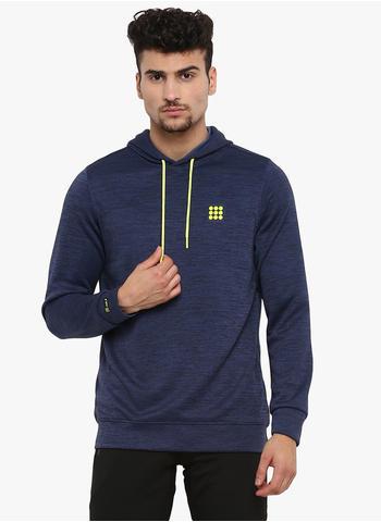 Rockit Navy Melange Hooded Smart Fit Sweatshirt