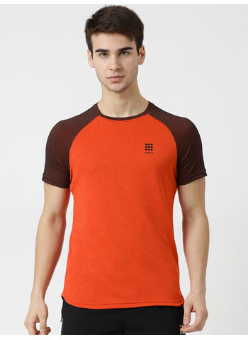 Rockit Orange Round Neck Regular Fit T-Shirt