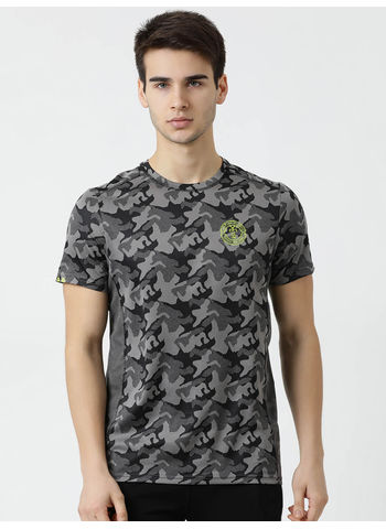 Rockit Black Round Neck Regular Fit T-Shirt