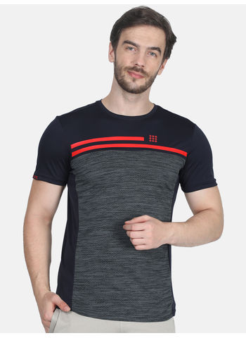 Rockit Navy Round Neck Regular Fit T-Shirt