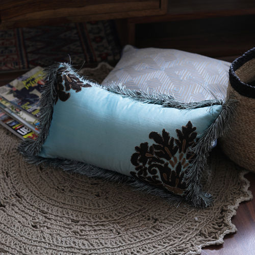 Decor Mart - Cushion Cover -  Poly Dupioni  - Embroidered - Aqua & Brown - 11 X 19 inch