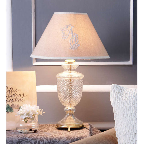 Décor Mart Designer clear Glass  Lamp with Beige Shade