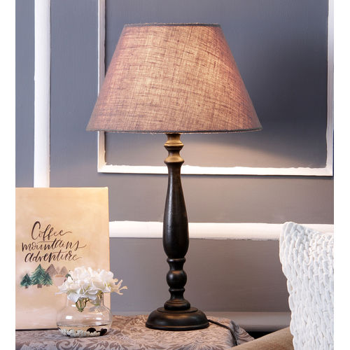 Décor Mart Designer Black Wood  Lamp with Grey Shade