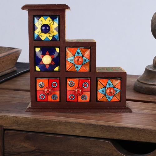 Decor Mart - Wooden and Ceramic Jewelry Box - 9.5 x 9.5