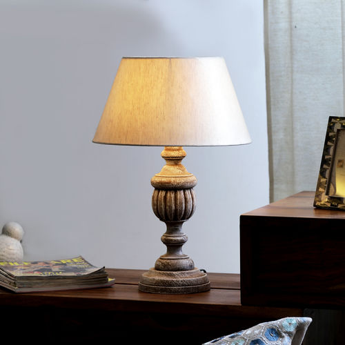 "The Décor Mart Off White Shade With Wooden Base Table Lamp (15"" x 15"" x 20.25"")"