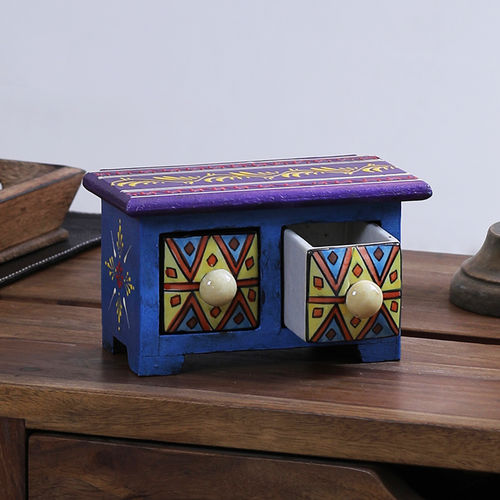 Decor Mart - Wooden and Ceramic Jewelery Box - 4 x 7