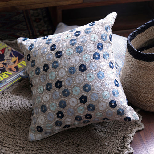 Decor Mart - Cushion Cover - Cotton - Embroidered - Natural & Blue - 17 X 17 inch