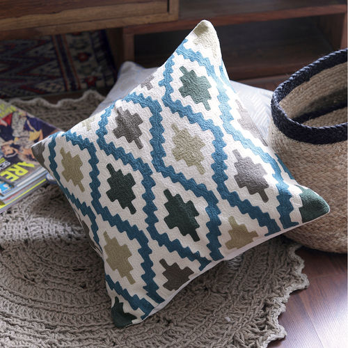 Decor Mart - Cushion Cover - Cotton - Embroidered - Multi - 17.5 X 17.5 inch