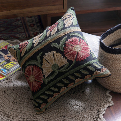 The Decor Mart - Cotton Embroidered - Multi - Cushion Cover, Pack of 1 | Fill...