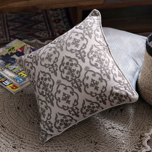 Decor Mart - Cushion Cover - Linen - Embroidered - Natural - 17 X 17 inch