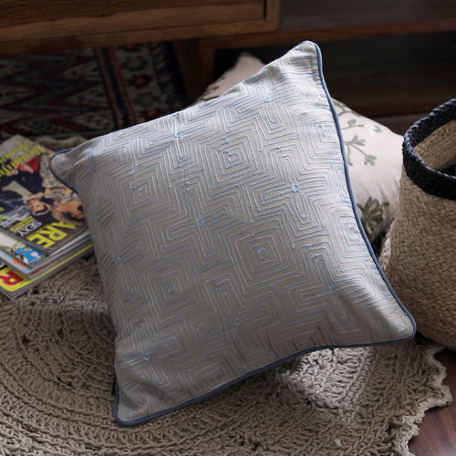 Decor Mart - Cushion Cover - Cotton - Embroidered - Beige & Blue - 17 X 17 inch