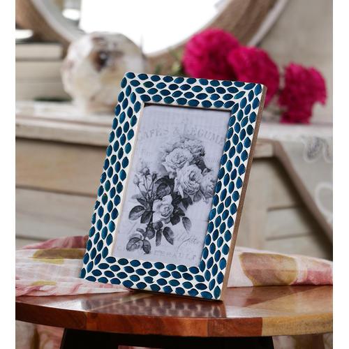 Decor Mart Blue Colour Mosaic Photo Frame for 6 X 4 inch photo