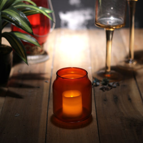 Decor Mart Tea Light Holder - Glass - Orange - 3x 3x3.50 Inch