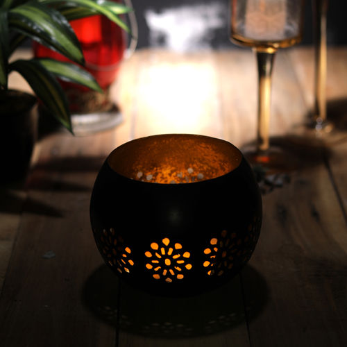 Decor Mart Tea Light Holder - Metal - Black - 5.50 x 5.50 x 4 Inch