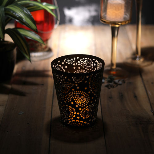 Decor Mart Tea Light Holder - Metal - Black - 4x4x5.50 Inch
