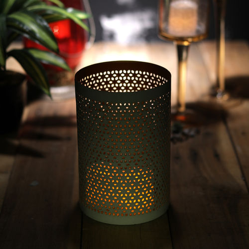 Decor Mart Tea Light Holder - Metal - white - 4x4x6 Inch