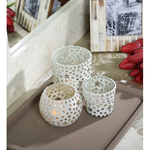 Decor Mart - Tea Lights Holder - Glass - Clear - 4.5 X 4.75 inch