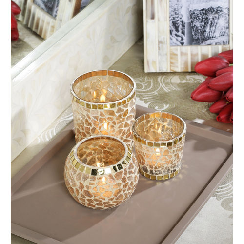 Decor Mart - Tea Lights Holder - Glass - Gold - 4.5 X 4.75 inch