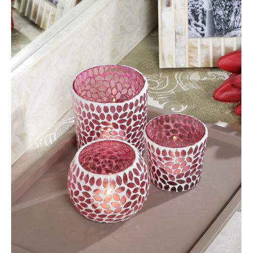 Decor Mart - Tea Lights Holder - Glass - Pink - 4.5 X 4.75 inch