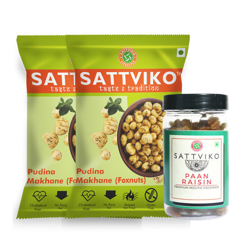 Sattviko Pudina Makhane -2 and Paan Raisin Combo(142gm)