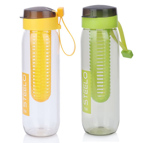 Steelo 750ml x 2 pcs Sante Infuser Water Bottle (Green+Ylw)-Pack of 2
