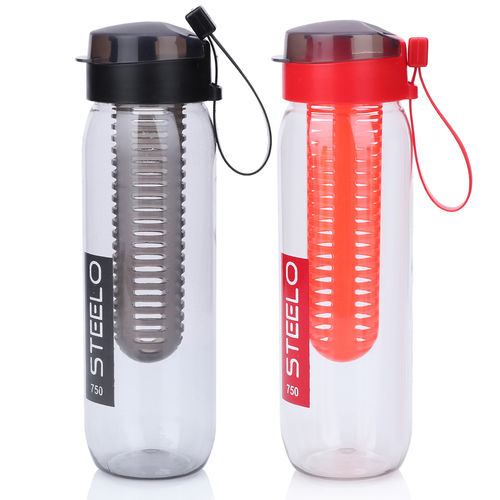 Steelo 750ml x 2 pcs Sante Infuser Water Bottle (Red+Blk)-Pack of 2