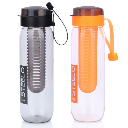 Steelo 750ml x 2 pcs Sante Infuser Water Bottle (Orange+Blk)-Pack of 2