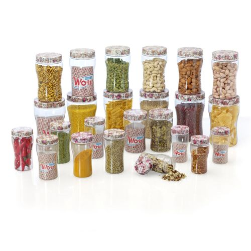 Steelo 24 pcs PET Container Set- 200ml x 4,300ml x 6,500ml x 2 ,750ml x 6,1100ml x 6 pcs (WOW, Pink)