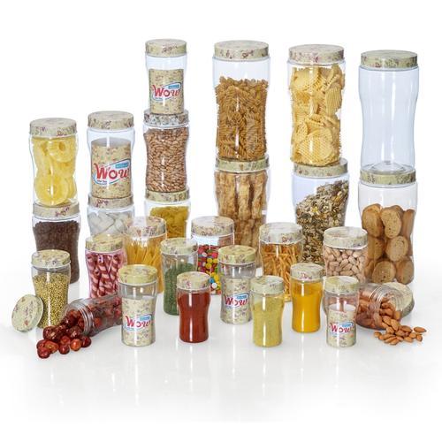 Steelo 28 pcs PET Container Set- 200ml x 4,300ml x 6,500ml x 6,750ml x 6,1500ml x 6 pcs (WOW, Beige)